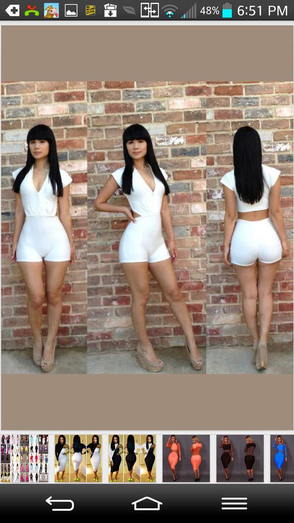dress romper white bodycon pantsuit