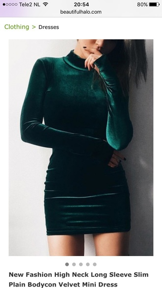dress velvet fashion style trendy long sleeves green beautifulhalo long sleeve dress bodycon dress mini dress