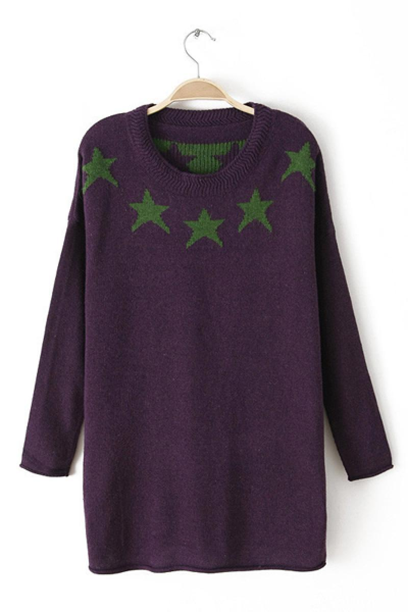 Autumn & Winter New Section Pentangle Pattern Pullover Sweater,Cheap in Wendybox.com