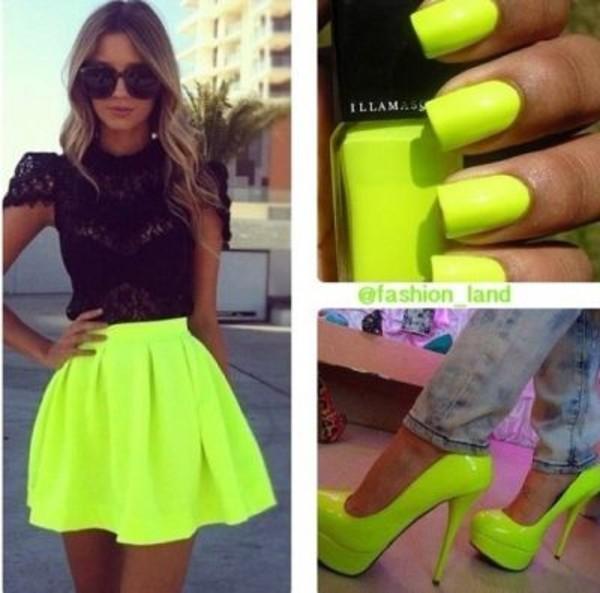 skirt neon skirt blouse