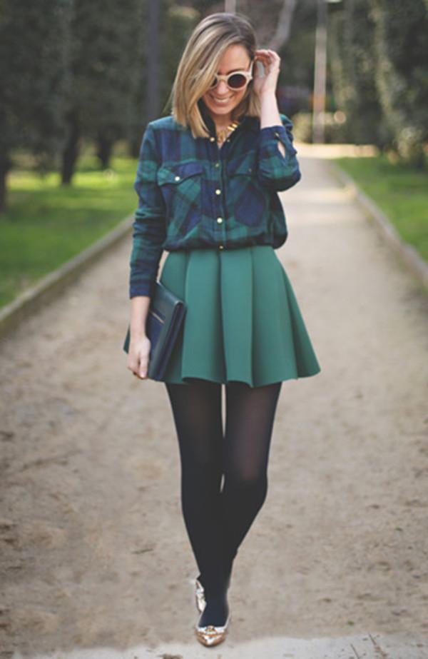 skirt green pleated skirt pleated green skirt shirt preppy