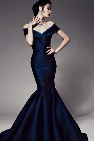 dress navy prom dress long dress maxi dress black fishtail mermaid prom dress