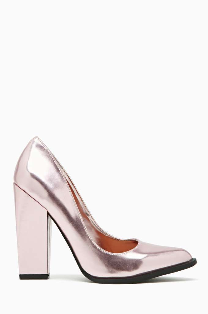 Shoe Cult Edge Pump - Pink Metallic in  Shoes Sale at Nasty Gal