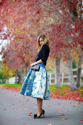 late afternoon blogger sweater skirt shoes bag midi skirt floral skirt stilettos floral midi skirt