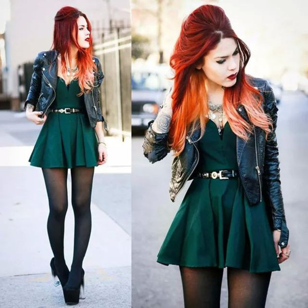 dress bustier dress green dress high heels edgy fall colors le happy shoes luanna perez forest green