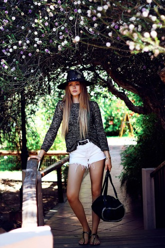 kayture top shoes bag hat denim shorts white shorts the kooples summer outfits blogger sandals hipster grey sweater