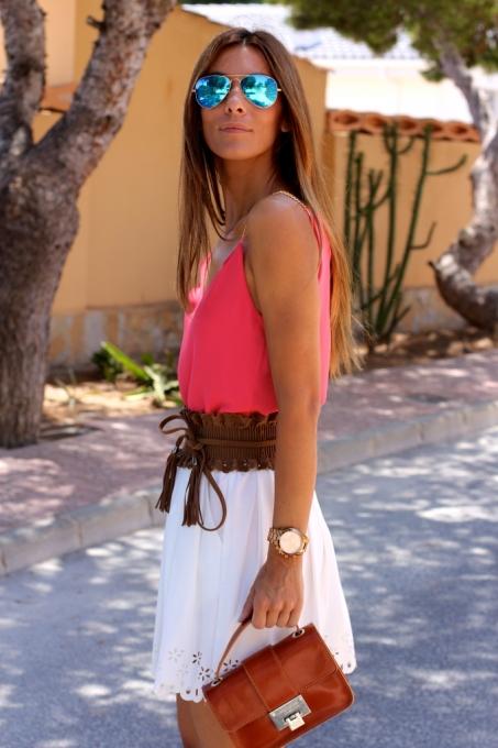 Ivory Elastic Waist Zipper Pleated Skirt - Sheinside.com