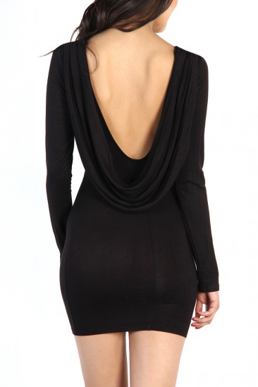 LoveMelrose.com From Harry & Molly | Open Back Layer Dress - Black