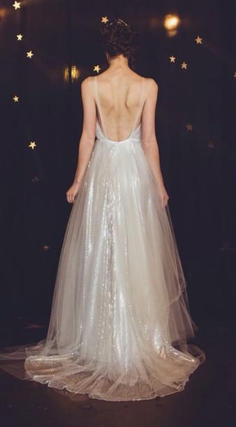 dress prom dress sparkly dress sequin dress low back sparkle wedding dress sparkly wedding dress bridal dress bridal gown