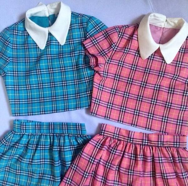 skirt clueless tartan pink blue school girl top shirt