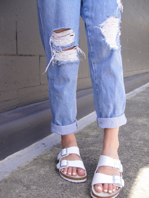 shoes sandals white sandals jeans ripped jeans