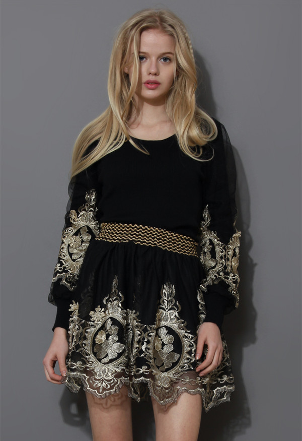 dress baroque golden embroidery top skater skirt
