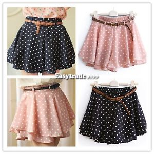 Women High Waist Pleated Dot Polka Chiffon Vintage Short Mini Skirts Dress ESY1 | eBay