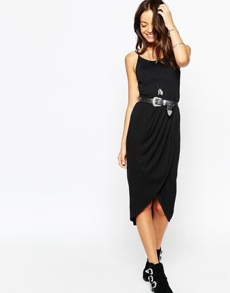 dress little black dress black dress midi dress strappy dress strappy midi wrap front wrap dress