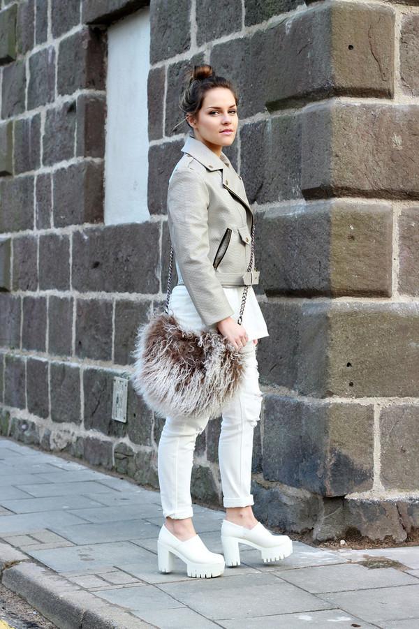 the little magpie jacket jeans t-shirt bag shoes brown furry bag pouch grey bag chain bag white jeans platform shoes white shoes grey jacket leather jacket
