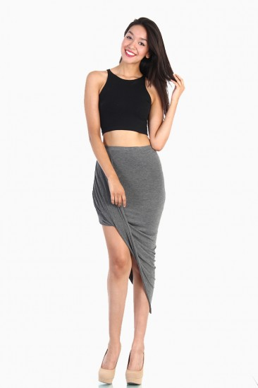 OMG OVERLAPPED DRAPED SKIRT - Gray