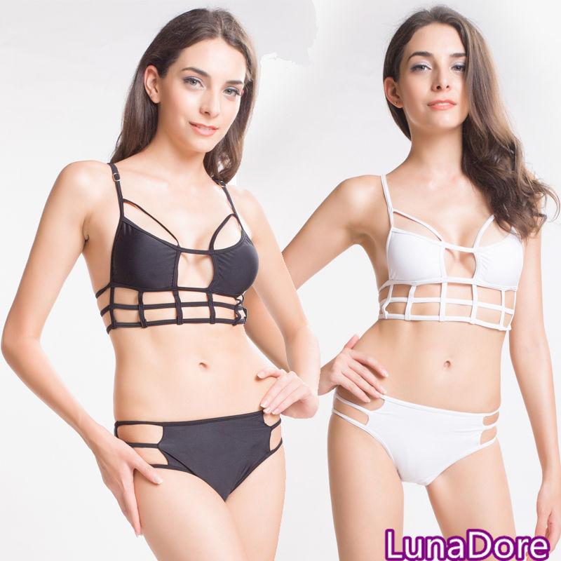 New Sexy Caged Cut Out Swimsuit Bikini Set Bathing Suit Padded Push Up Swimwear | eBay