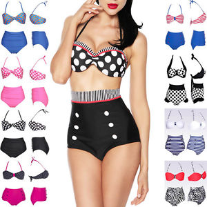 Retro Push Up Padded Top High Waist Pin Up Bikini Swimsuit Beachwear Swimwearset   eBay