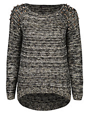Knit Sweater with Shoulder Spike Accents | Lord and Taylor