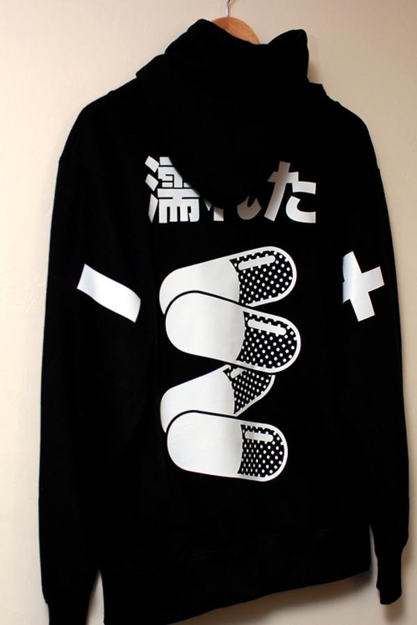 sweater japanese japan japanese sweatshirt pills jacket black and white jacket screened pills jumper tumblr clothes black sweater with pills
