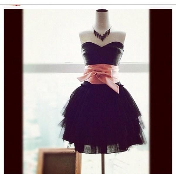 dress black pink bow strapless