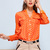 Polka Dots V-neck Blouse with Pockets Front in Orange [FDBI00551] - PersunMall.com