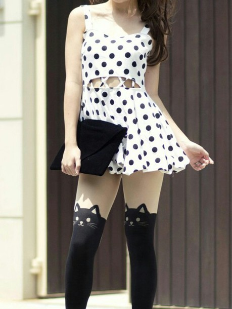 dress cute dress polka dots polka dot dress black and white dress cut-out dress