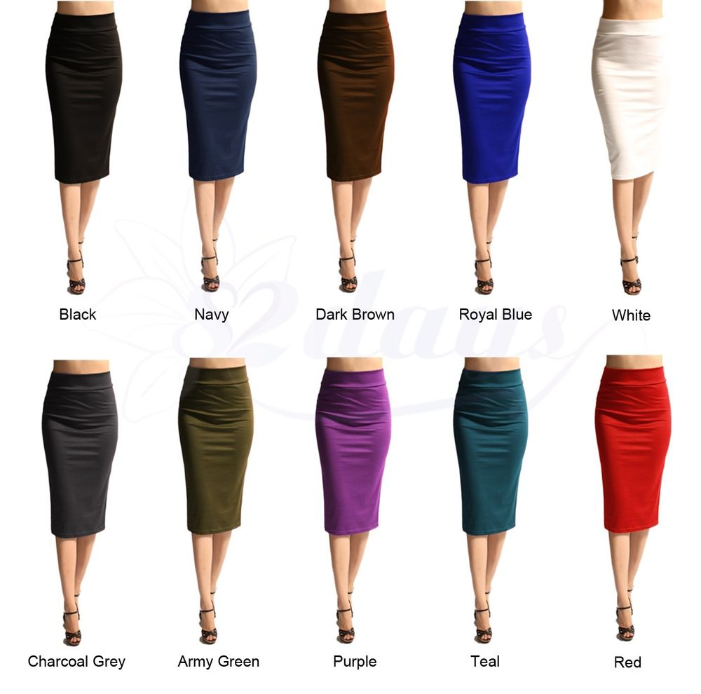 Women Solid Sexy Elegant Straight Pencil Skirt Made in USA More Colors | eBay