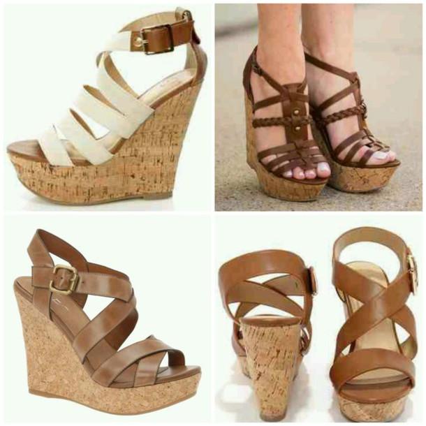 shoes cork wedges cute shoes heels