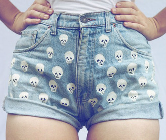 shorts skull high waisted shorts tumblr tumblr shorts denim high waisted denim shorts denim shorts short high waisted waist waisted high low rise low rise turnup jeans cropped ripped acid wash skeleton girly hipster stylish pants light jeans indie alternative tumblr aesthetic grunge soft grunge goth pastel pastel goth aesthetic