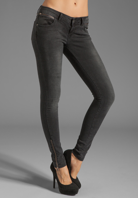 ANINE BING Skinny Double Zipper Skinny in Grey at Revolve Clothing - Free Shipping!