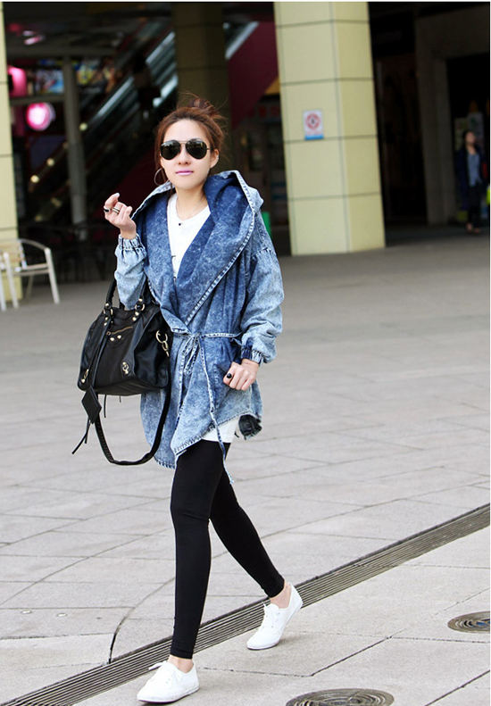 Fashion Womens Lady Denim Trench Hoodie Coat Hooded Jean Jacket Outerwear Cool | eBay