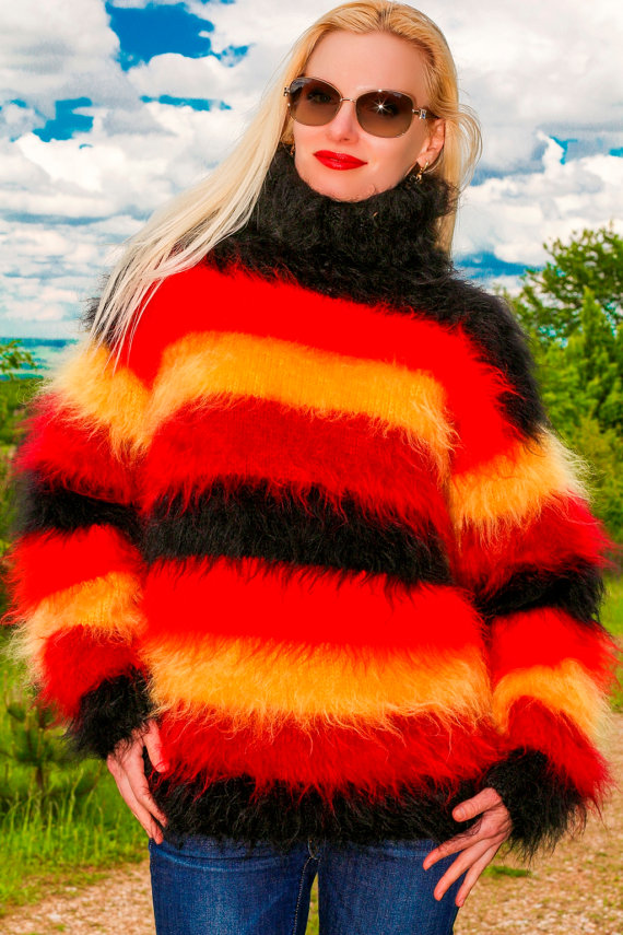 Thick fuzzy hand knitted multicolor mohair sweater by supertanya