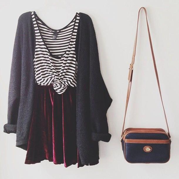 shirt stripes top red velvet velvet skirt cardigan bag hipster skater skirt grey cardigan
