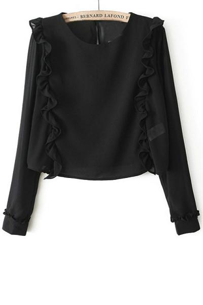 Ruffled Long Sleeve Blouse - OASAP.com