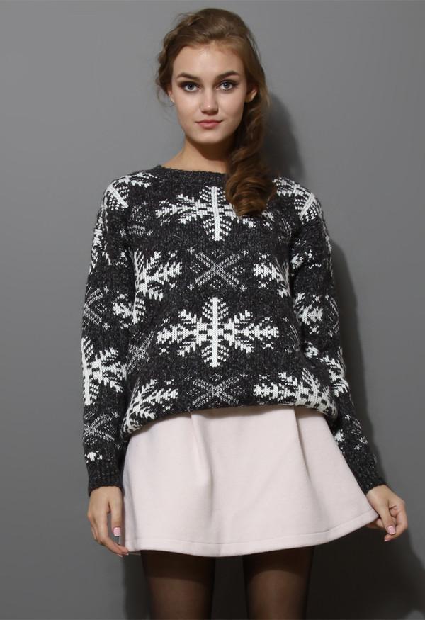 sweater snowflake pattern knit grey