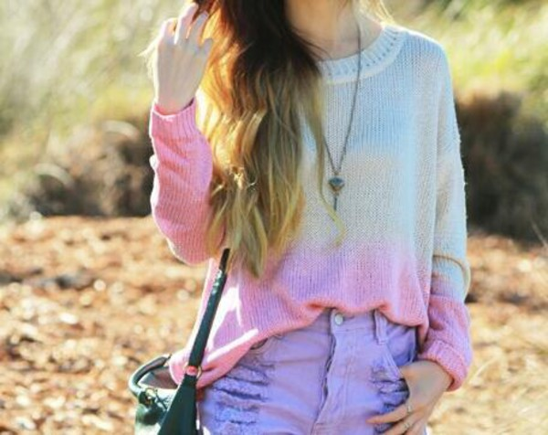 sweater shorts jewels ombre shirt denim shorts