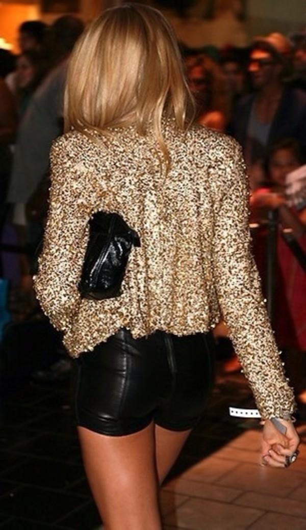 shirt sequin shirt shorts sequin jacket jacket gold jacket leather shorts black shorts girly gold gold sequin jacket