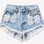 450 Acid Frayed Studded Shorts | RUNWAYDREAMZ