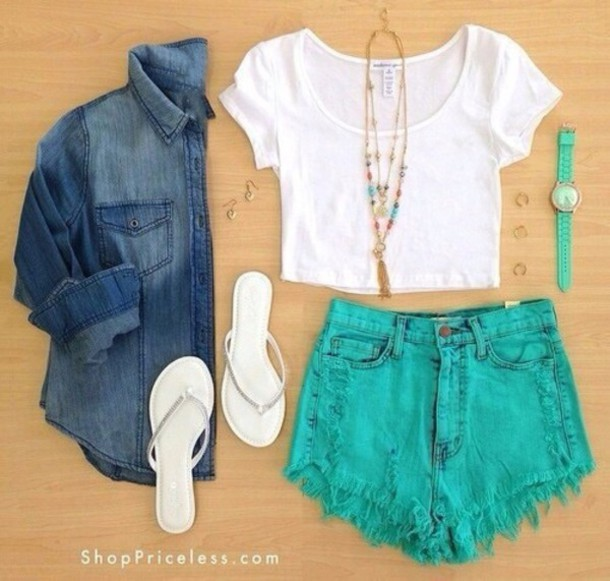 blouse t-shirt shorts shoes jewels