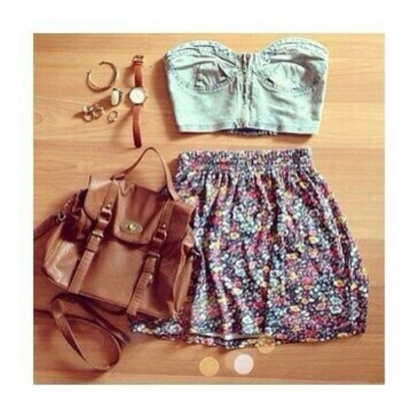 bag bags and purses skirt flowy skirt floral crop tops brown bag jewels tank top
