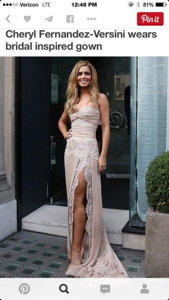 lace dress cheryl fernandez silk nude high heels