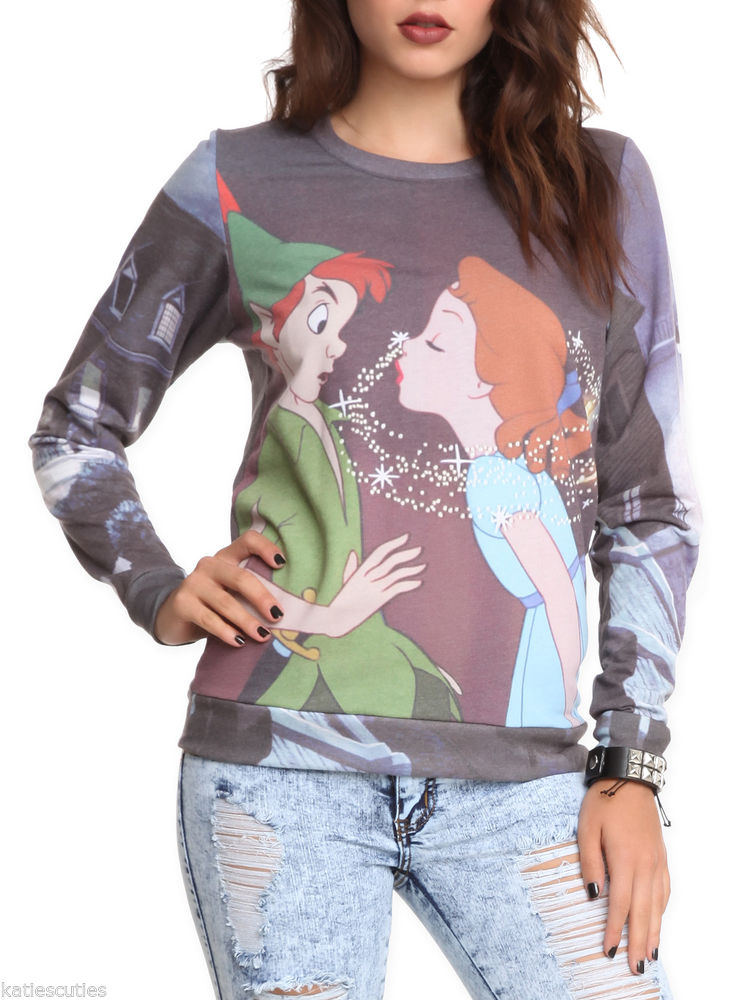 Disney Peter Pan Wendy Kiss Tinkerbell London Pullover Crew Jr Top XS s XL | eBay