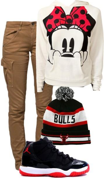 sweater minnie mouse chicago bulls beanie jordans pants hat