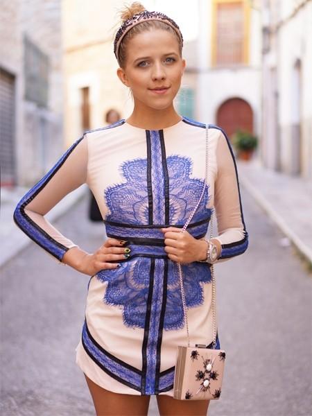 Bodycon pencil dress modèle Briana Bleu - irresistyle