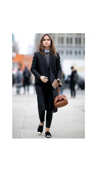 shoes black black shoes coat long street style brown leather bag bicolor chic classy shirt women