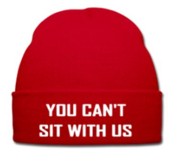 hat red winter outfits guys girl swag white you cant sit with us