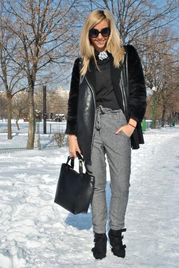 let's talk about fashion ! coat blouse pants shoes sunglasses bag