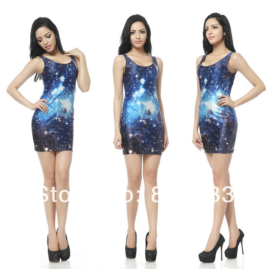 2013 Fashion Newest Women Sexy Galaxy Dresses Stylish Skinny Elastic Casual T shirt Dresses Sleeveless 17 Colors One Size-in Dresses from Apparel & Accessories on Aliexpress.com
