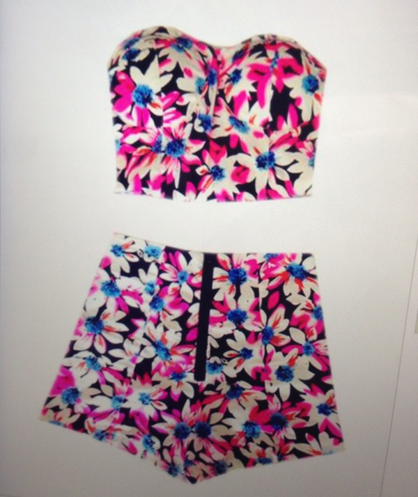 blouse shorts floral two-piece two-piece